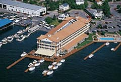 aerial view of riveredge resort and boat docks