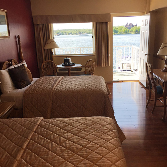 Views directly overlooking Boldt Castle and Heart Island from a private balcony.