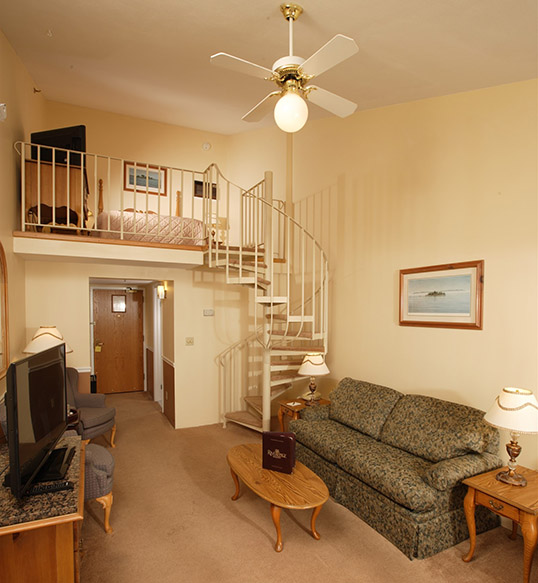 Our Loft suites are located on the fourth floor and are bi-level accommodations.