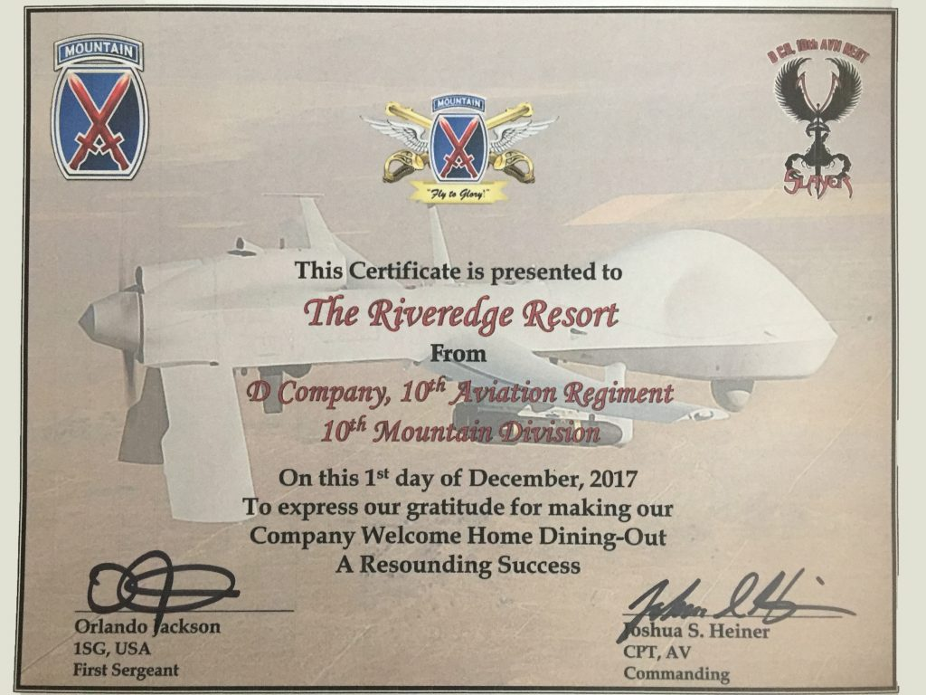 Certificate from D Company 10th Aviation Regiment 10th Mountain Division